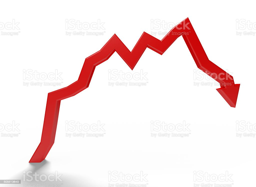 Red arrow pointing down stock photo