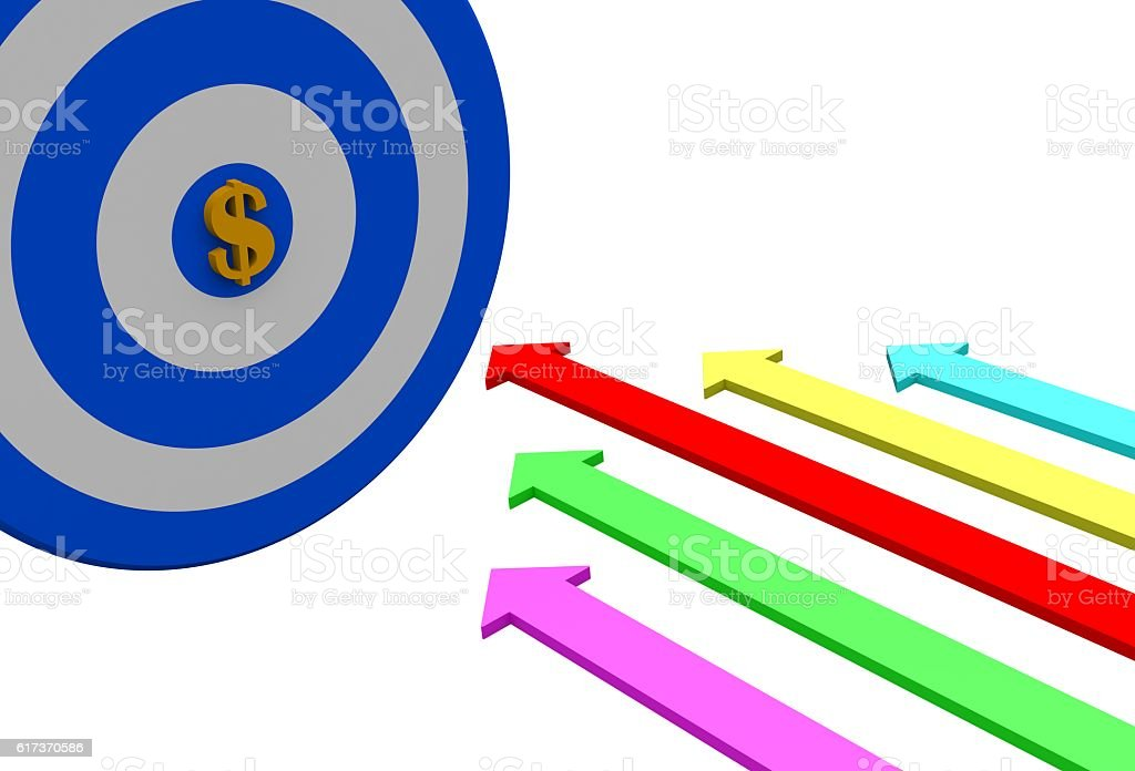 Red Arrow Pointing To Center Of Target. Success Winning Concept stock photo
