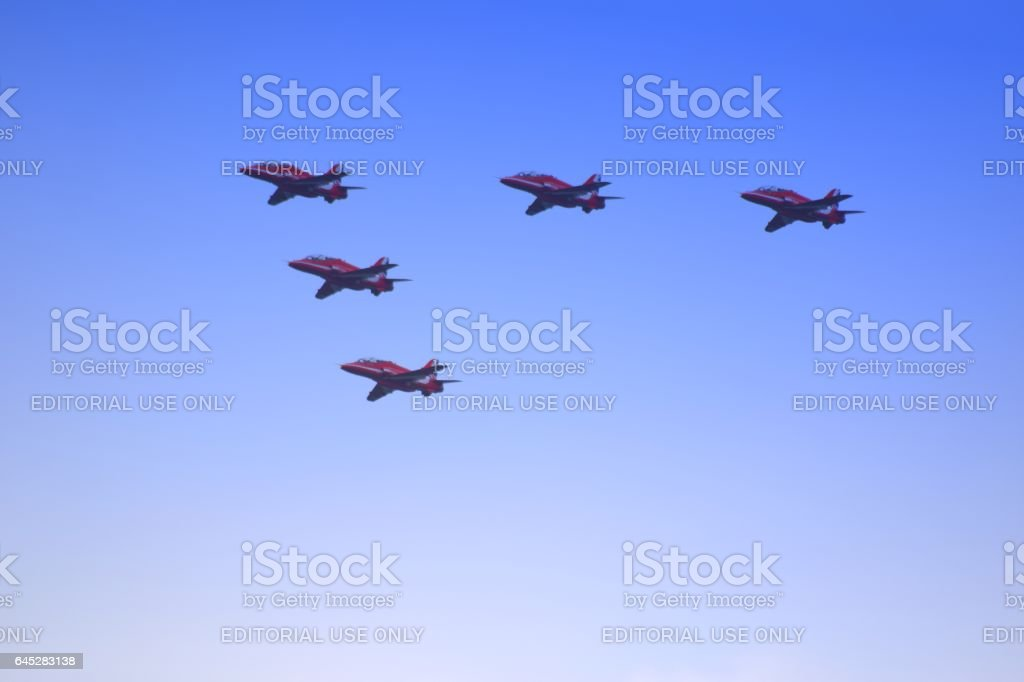 red arrow RAF scampton trooping the colour planes flying overhead stock photo