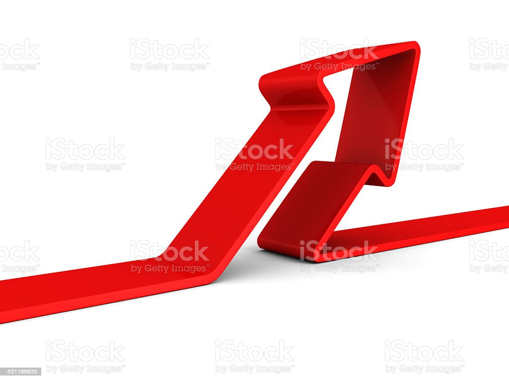 red arrow rising up on white background stock photo