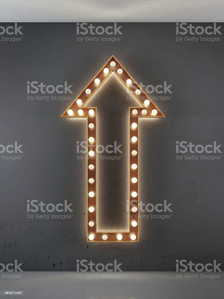 red arrow sign in interior stock photo