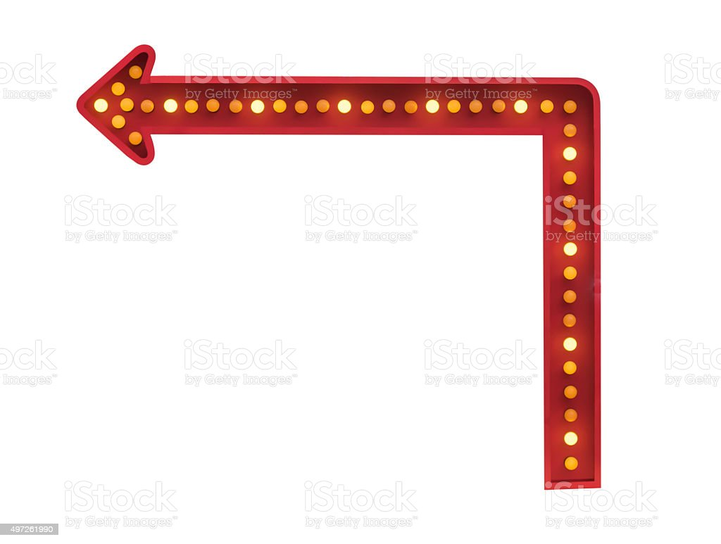 red arrow with light bulbs stock photo