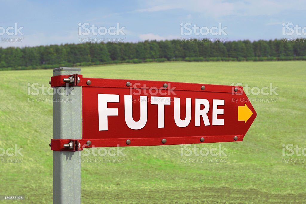 Red arrow with the word Future on it stock photo