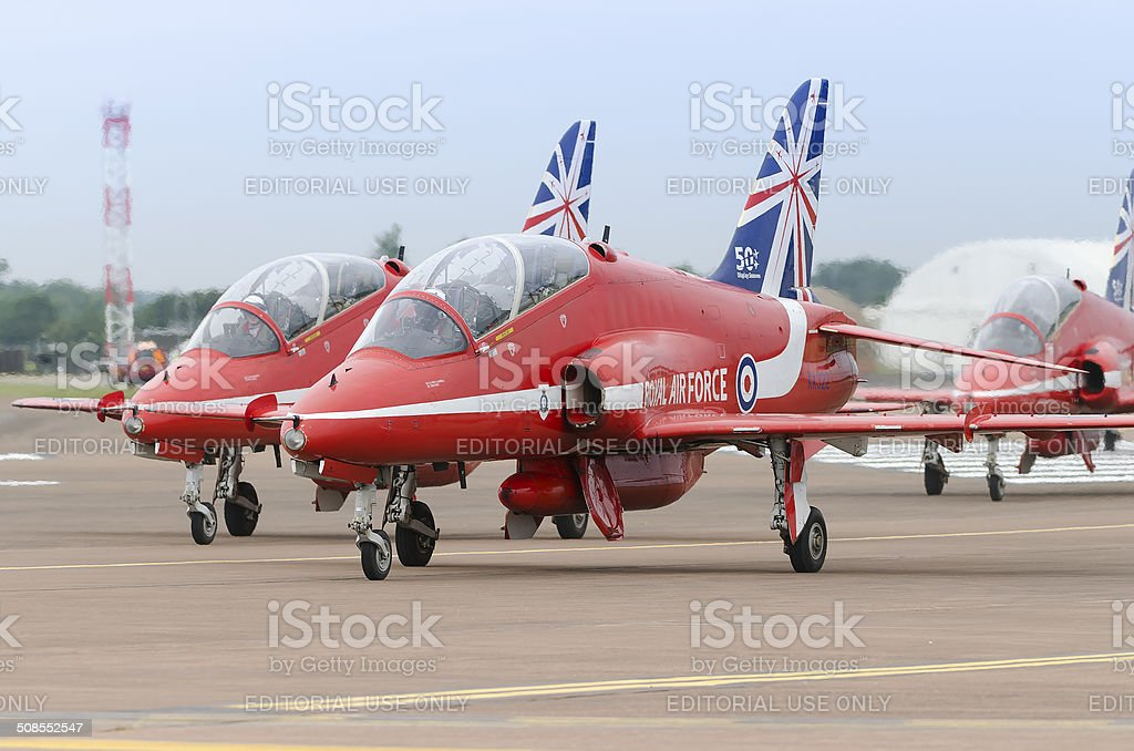Red Arrows aerobatic display team stock photo