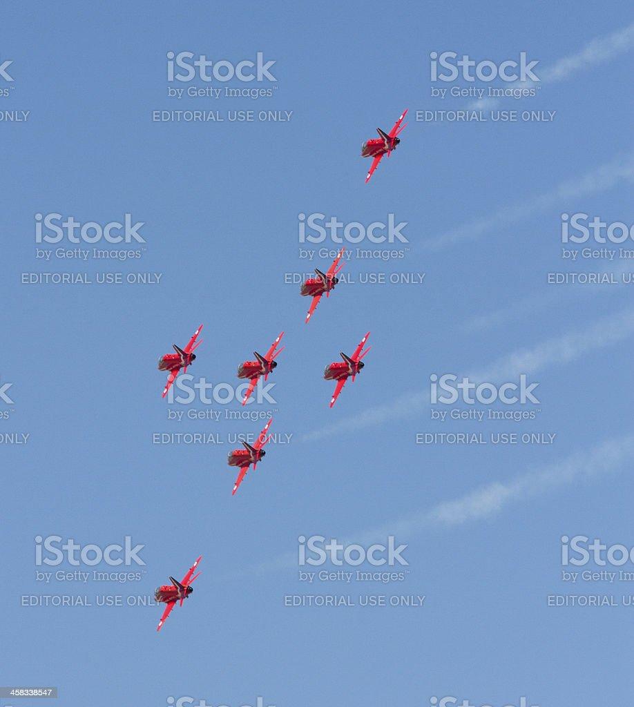 Red Arrows aerobatic planes royalty-free stock photo