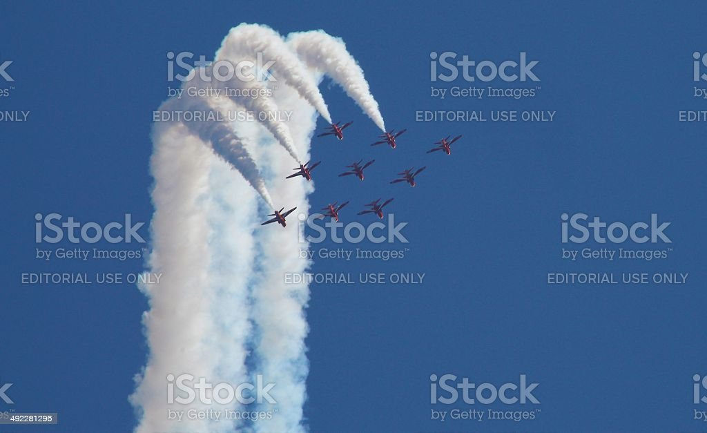 Red Arrows Air Display over Guernsey stock photo