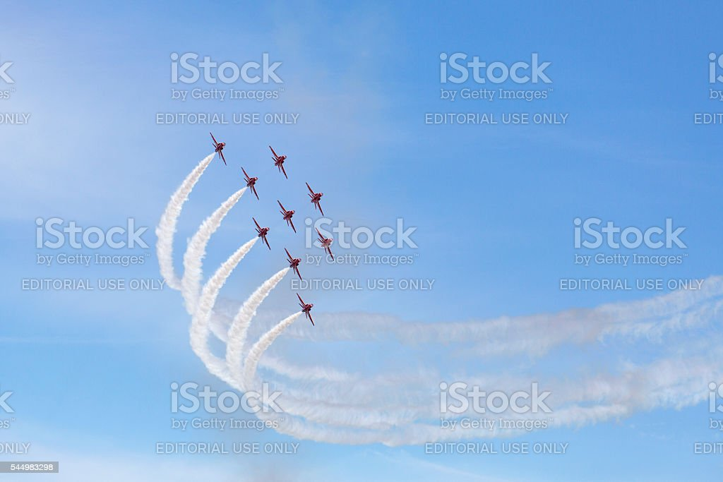 Red Arrows Display Team - Swansea stock photo