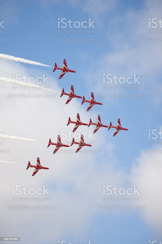 Red Arrows - Eagle Formation royalty-free stock photo