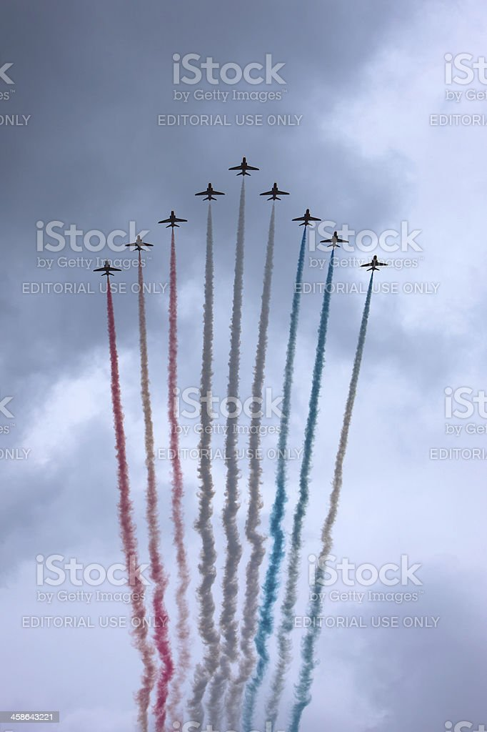 Red Arrows Fly Past for the Queen's Diamond Jubilee royalty-free stock photo
