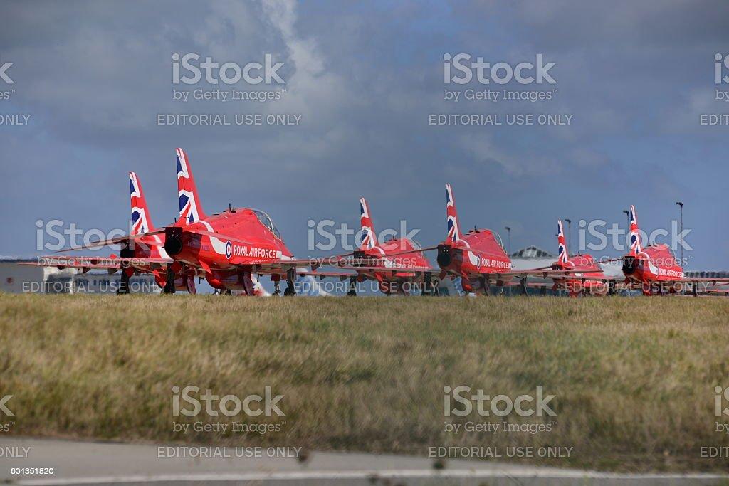 Red Arrows, Hawk T1, Jersey, U.K. stock photo