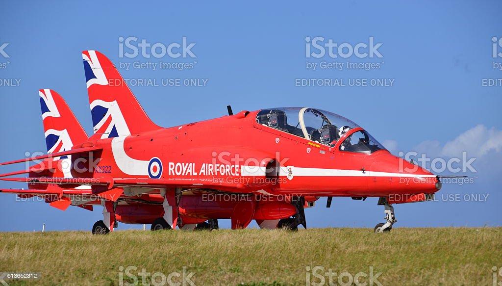 Red Arrows, Hawk T1, U.K. stock photo