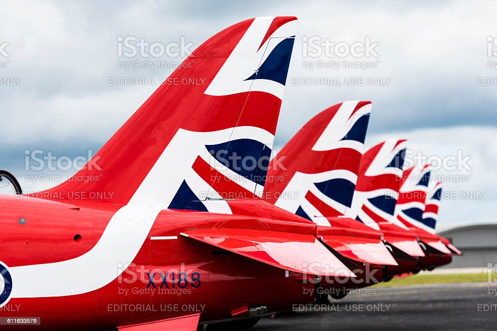 Red Arrows on the ground stock photo