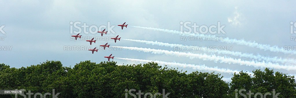 Red Arrows Parade for the Queen's Birthday stock photo