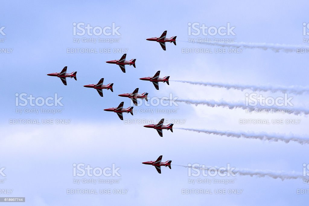 Red Arrows parading for the Queen's Birthday stock photo