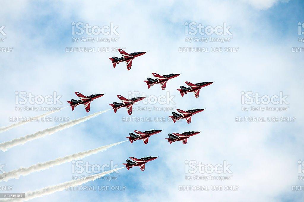 Red Arrows RAF Display Team stock photo