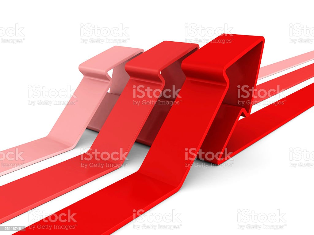 red arrows rising up on white background stock photo