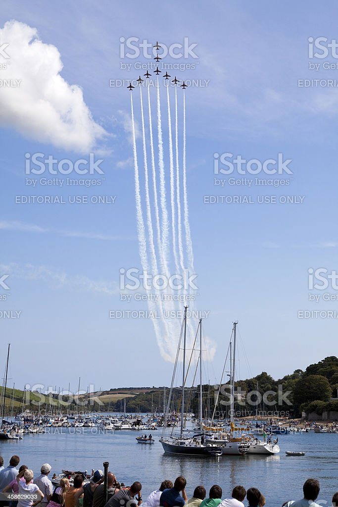 Red Arrows Royal Air Force Display Team Over Salcombe, Devon stock photo