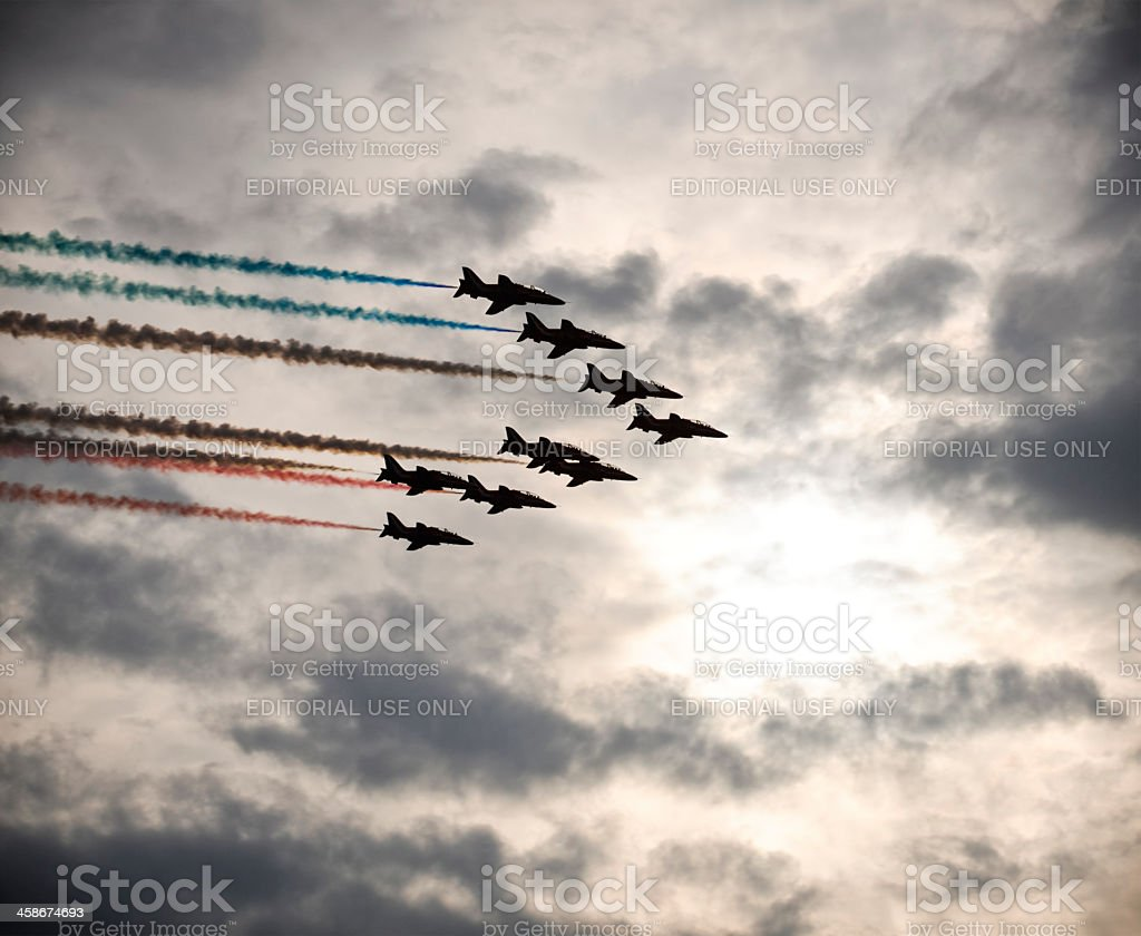 Red Arrows Silhouetted royalty-free stock photo