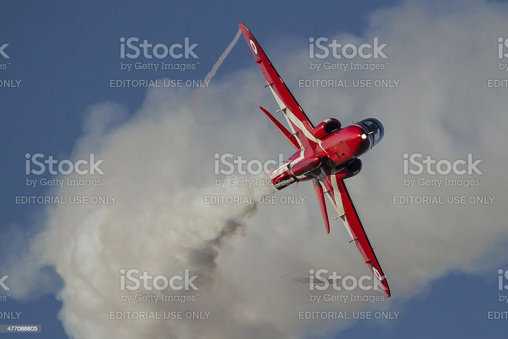Red Arrows - single Hawk jet, 'g' forces. stock photo