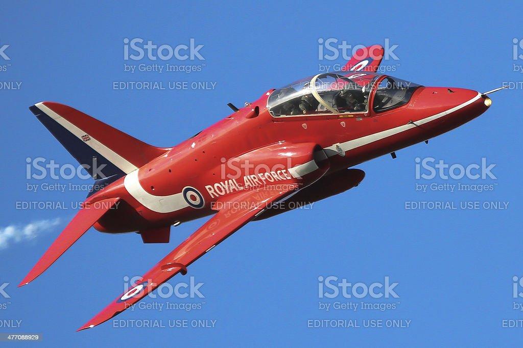 Red Arrows - single Hawk jet stock photo