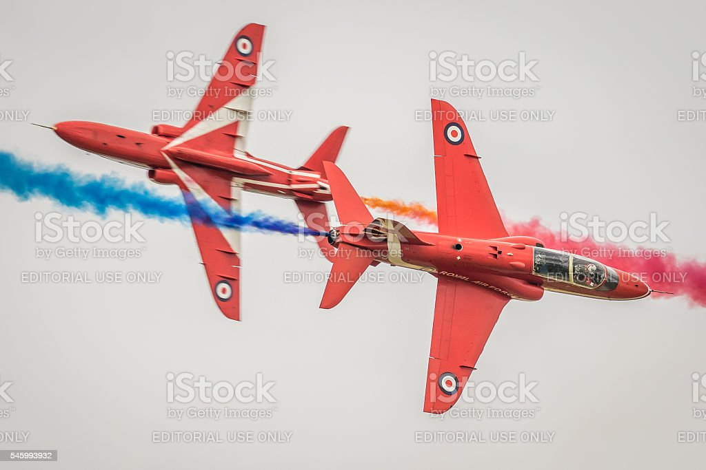 Red Arrows - Synchro Pair stock photo