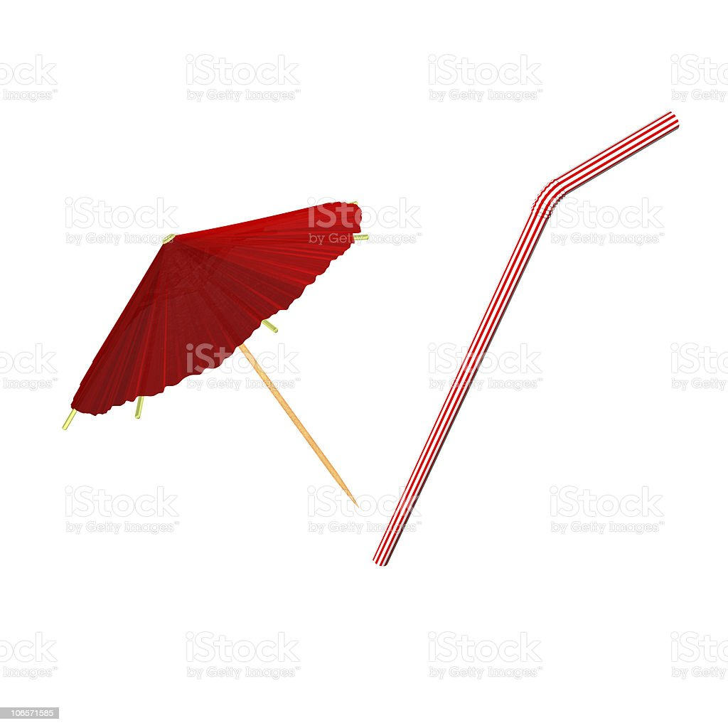 red asian cocktail umbrella, tube stock photo