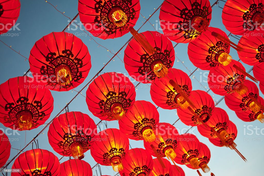 Red Asian Lanterns stock photo