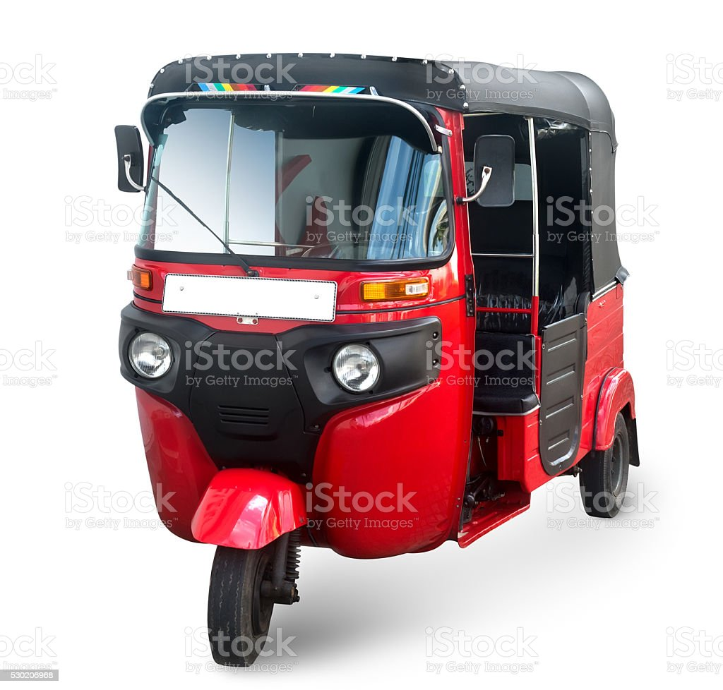 Red asian taxi stock photo