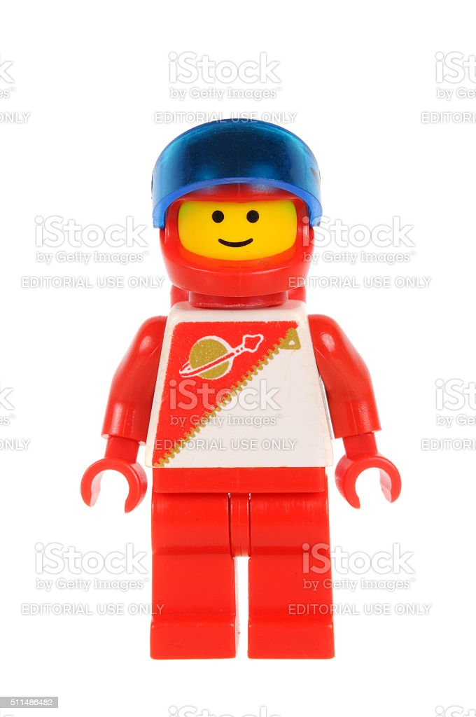 Red Astronaut Lego Minifigure stock photo