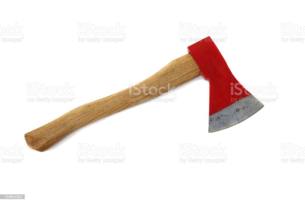Red axe isolated stock photo