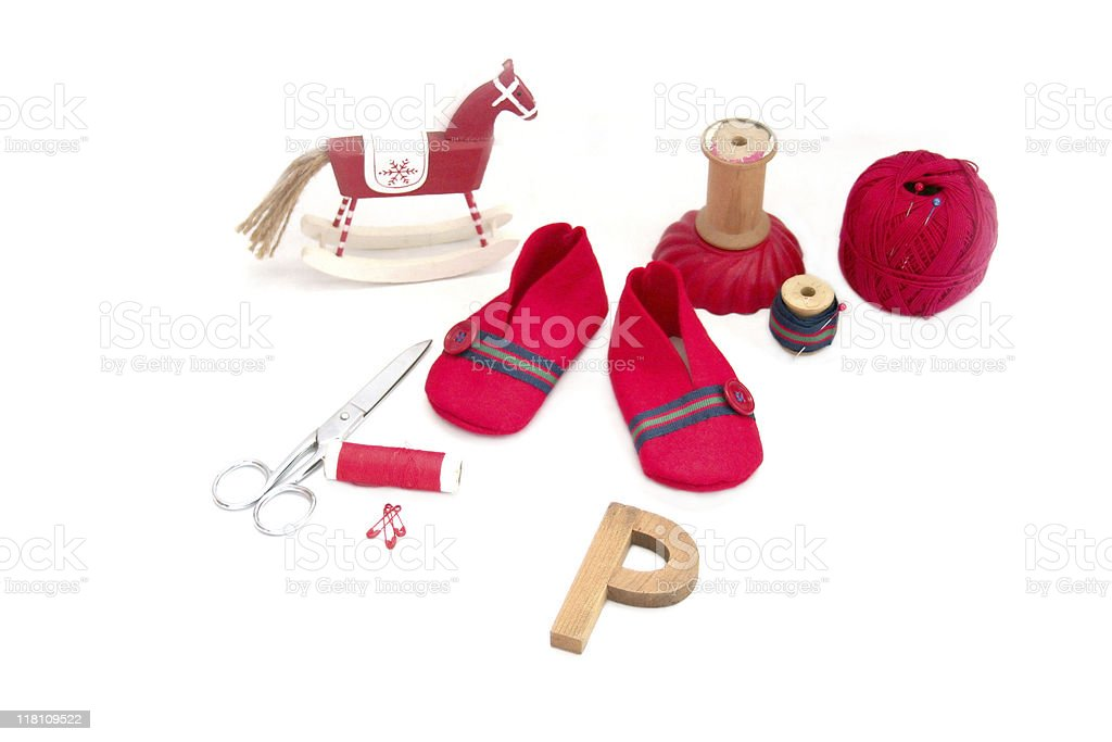 Red Baby felt booties royalty-free stock photo