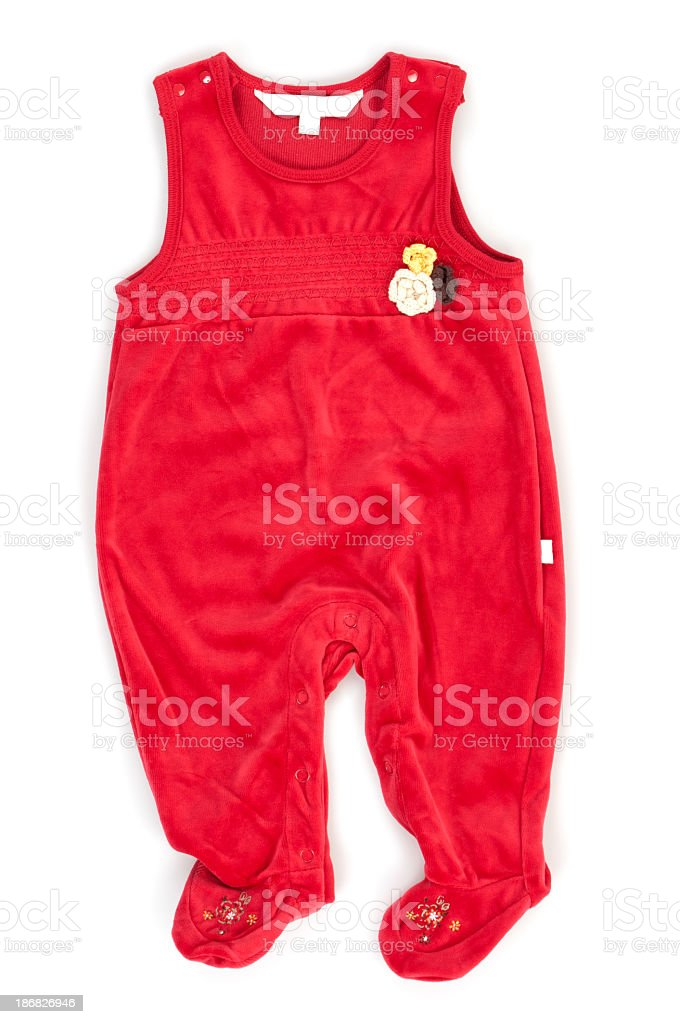 Red Baby Overalls stock photo