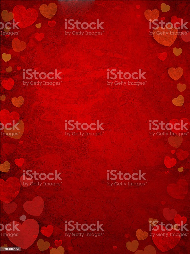 Red background with different sized hearts as borders stock photo