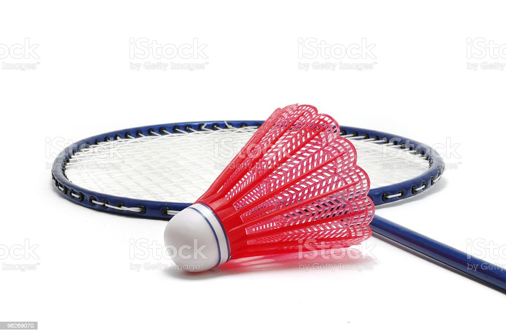 Red Badminton Shuttlecock (Birdie) and Racket royalty-free stock photo