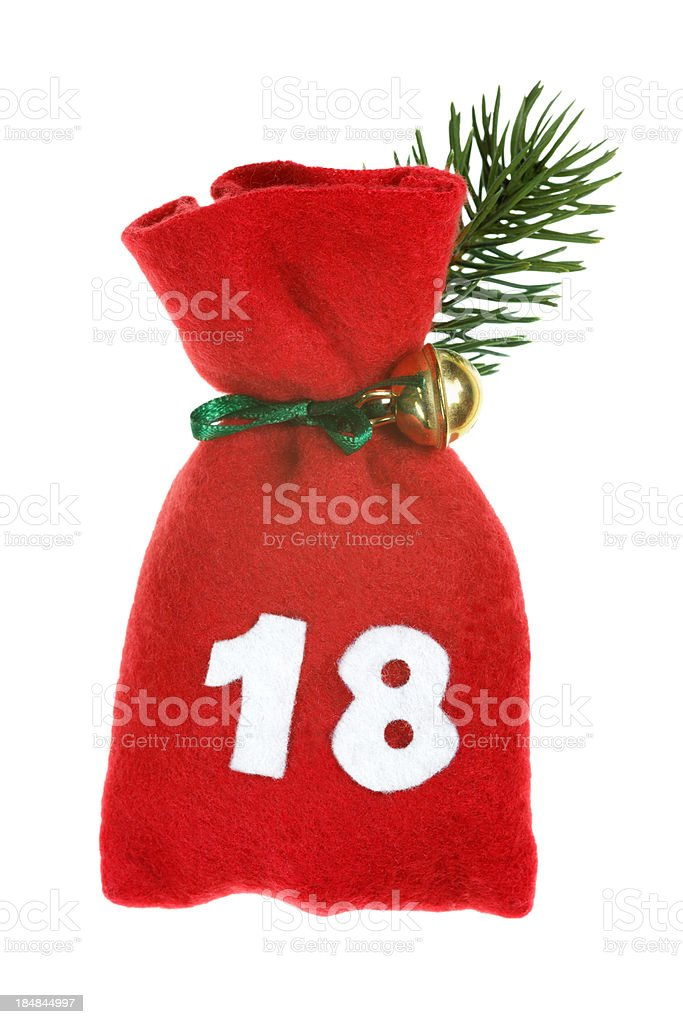 red bag for advent calendar stock photo