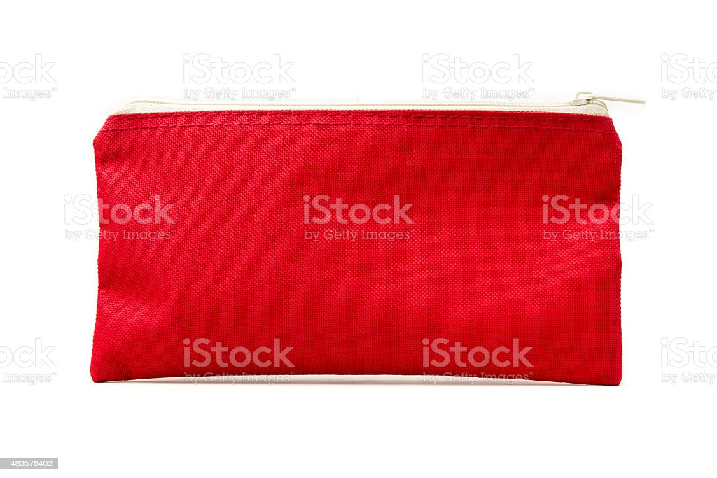 Red bag with zipper isolated on white. stock photo