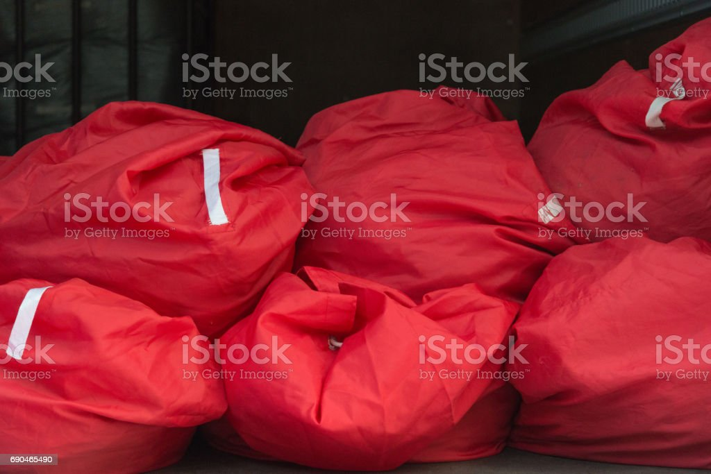 Red bags stock photo