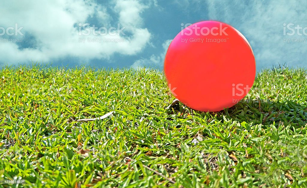 red ball on green glass royalty-free stock photo