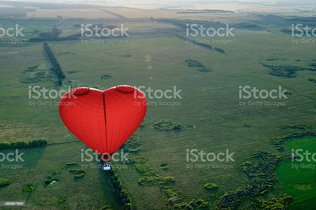 Red balloon in the form of heart stock photo