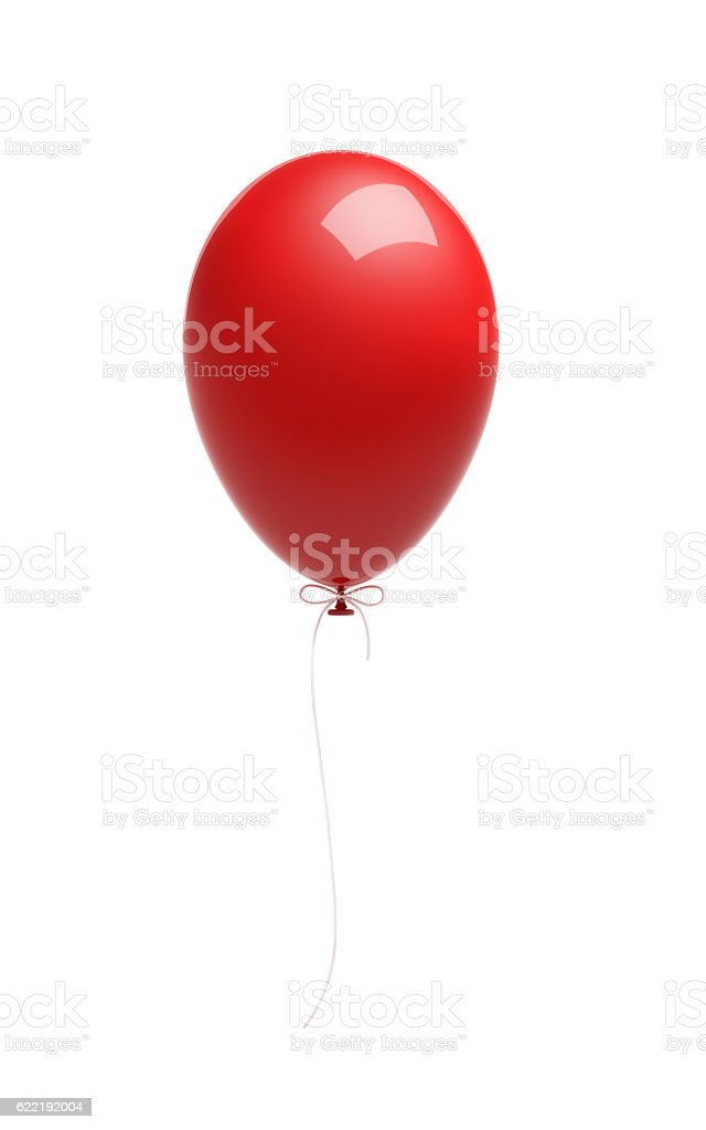 Red Balloon Isolated on White Background stock photo