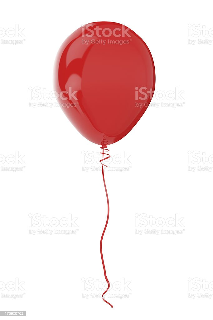3-D red balloon with red ribbon on white stock photo
