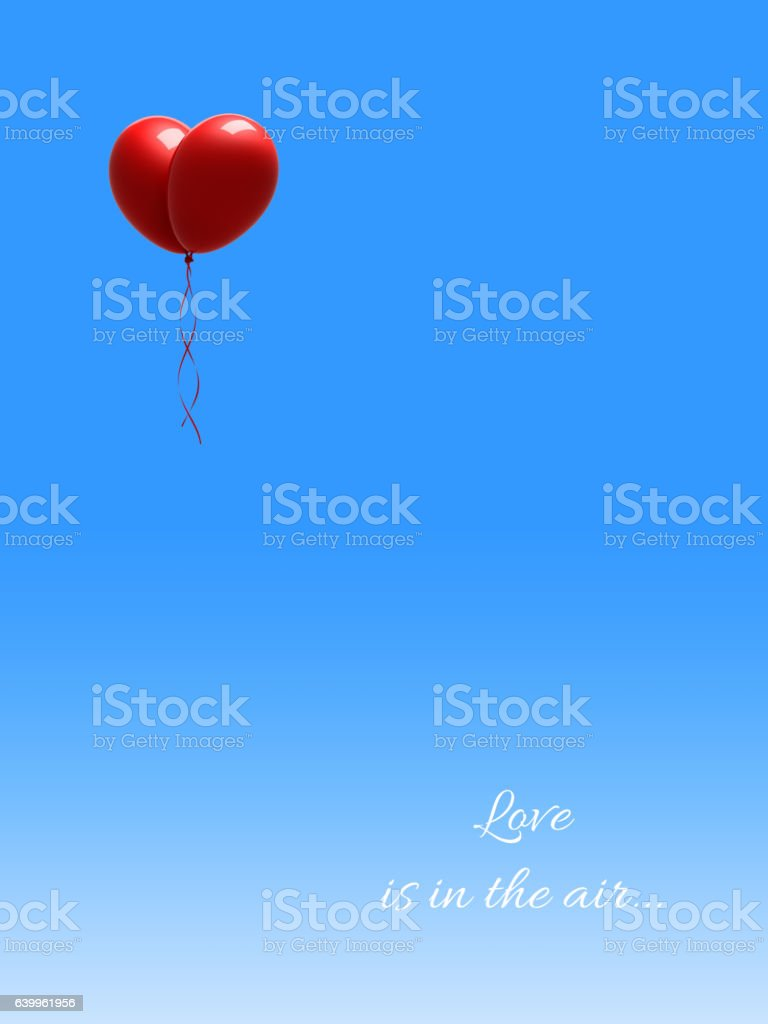 Red Balloons Forming a Heart Shape on Blue Sky stock photo