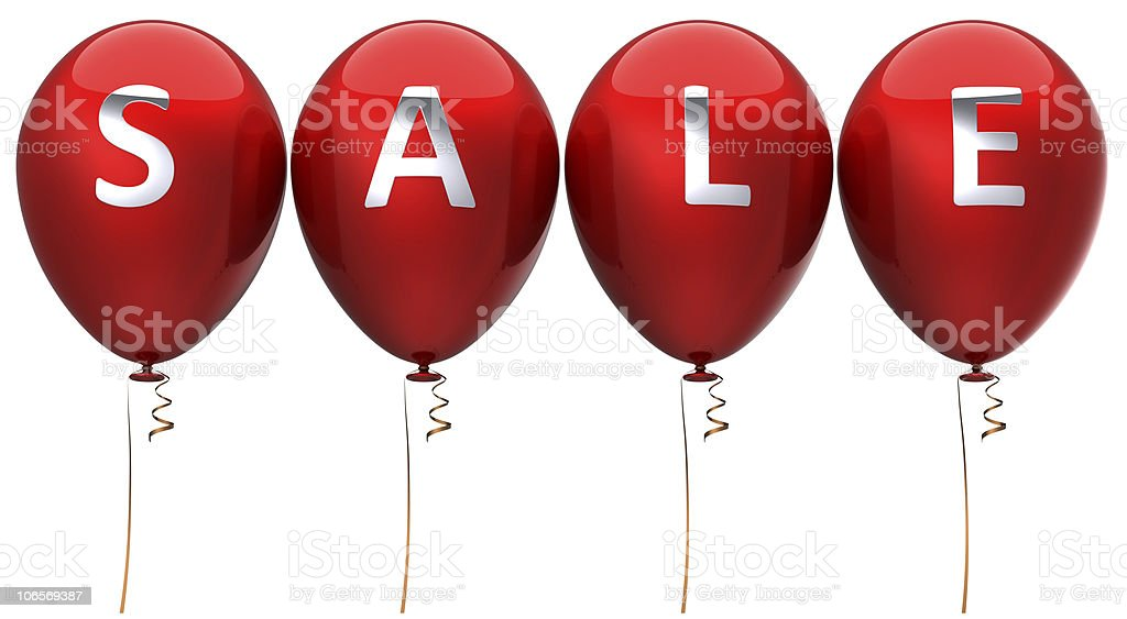 Red balloons sale announcement decoration royalty-free stock photo