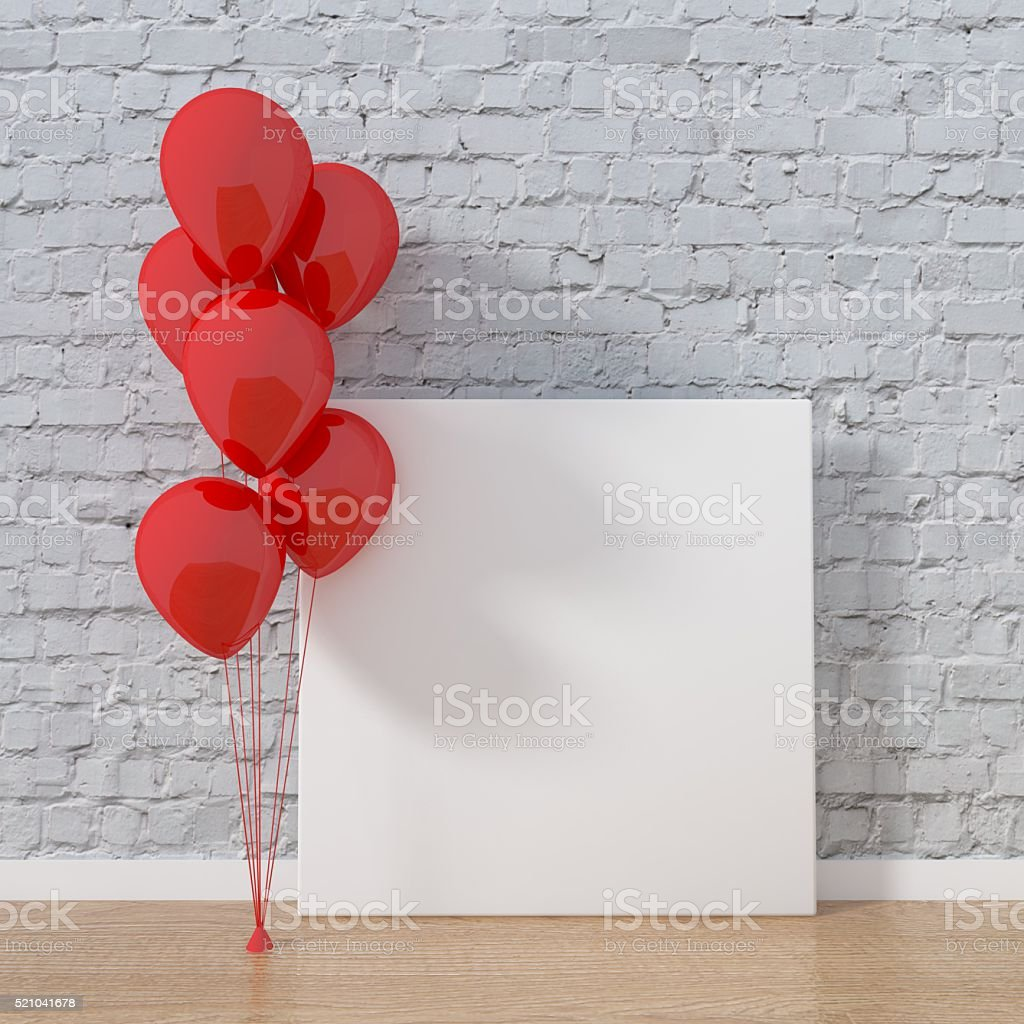 Red balloons with blank white picture stock photo