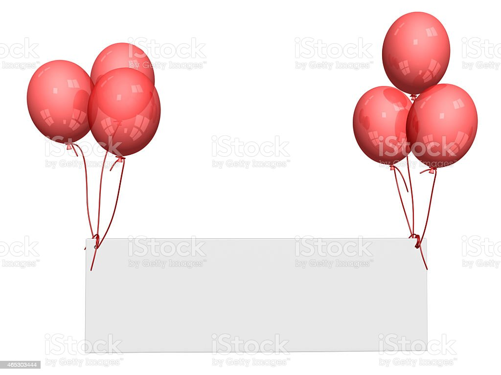 red balloons with name-plate stock photo
