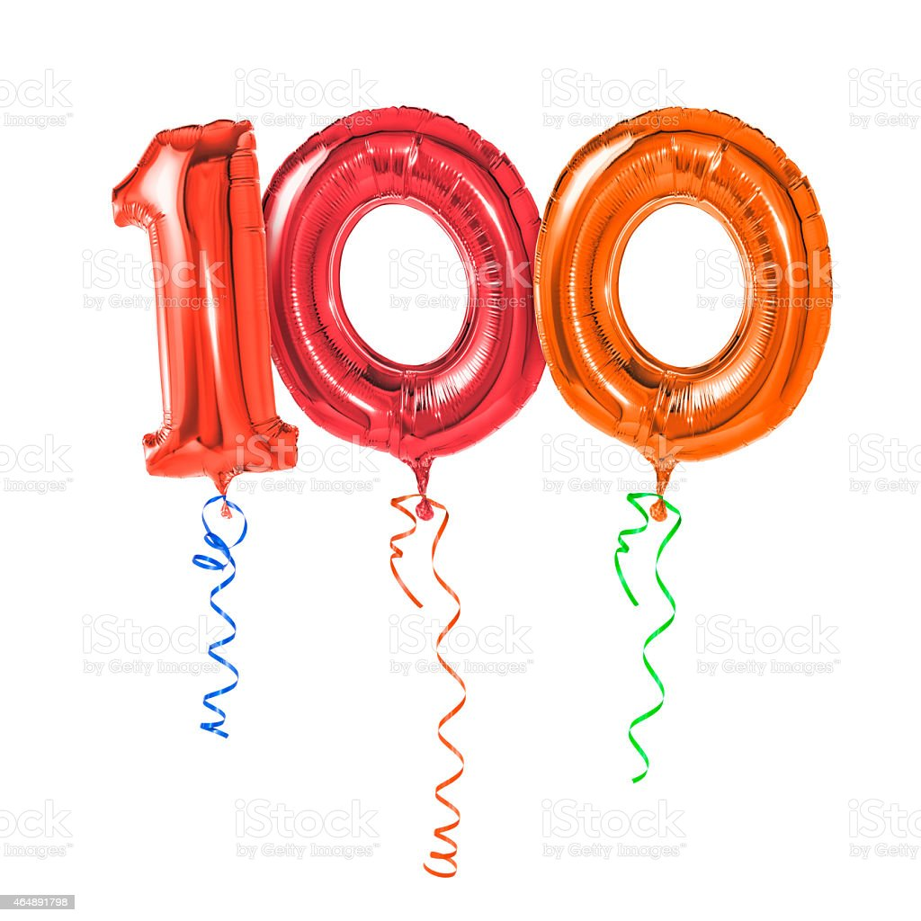 Red balloons with ribbon - Number 100 stock photo