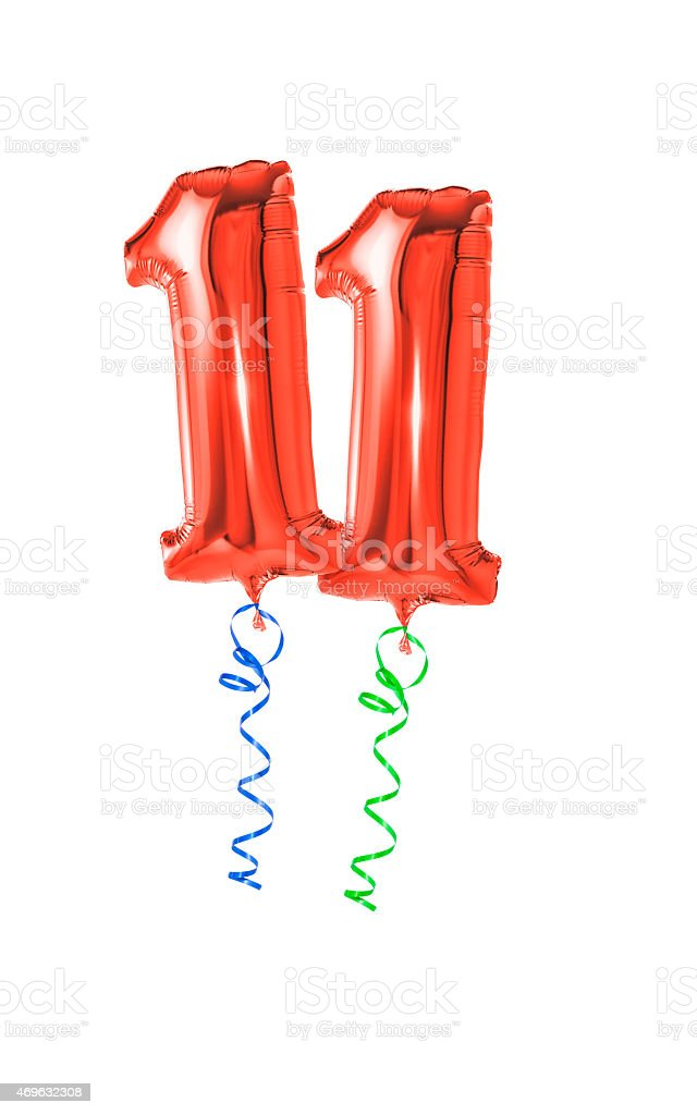 Red balloons with ribbon - Number 11 stock photo