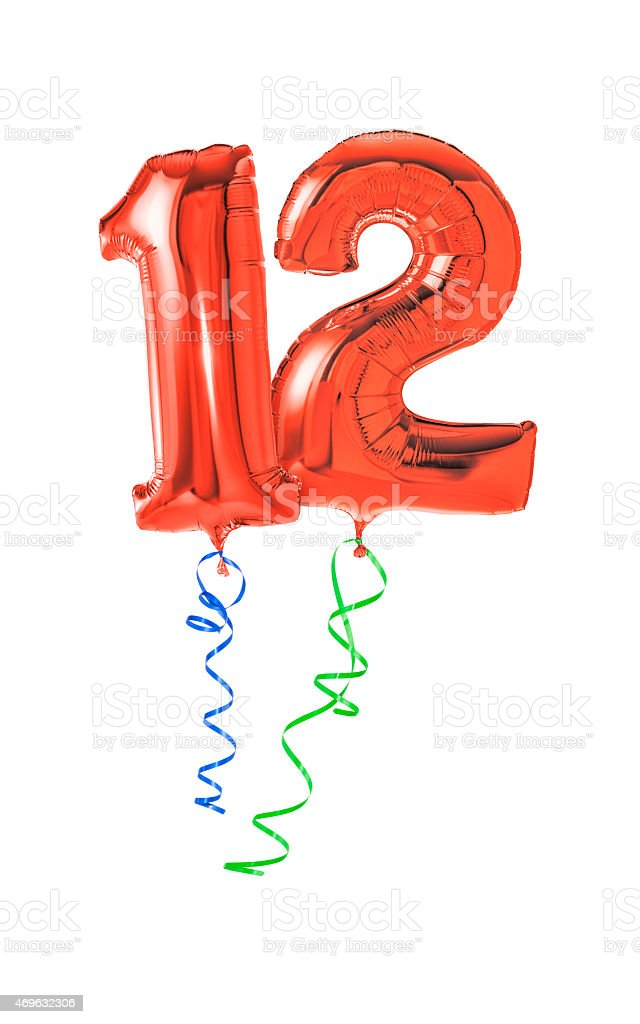 Red balloons with ribbon - Number 12 stock photo