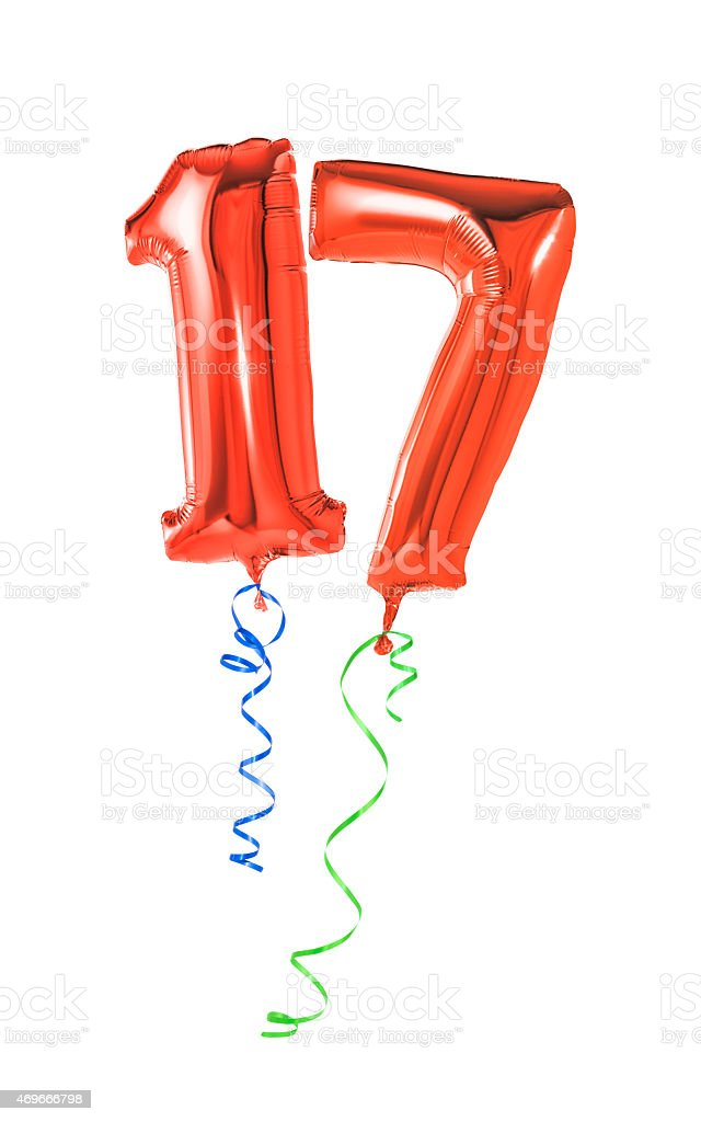 Red balloons with ribbon - Number 17 stock photo