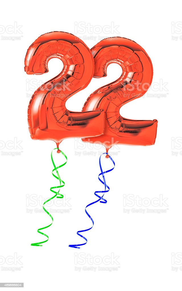 Red balloons with ribbon - Number 22 stock photo